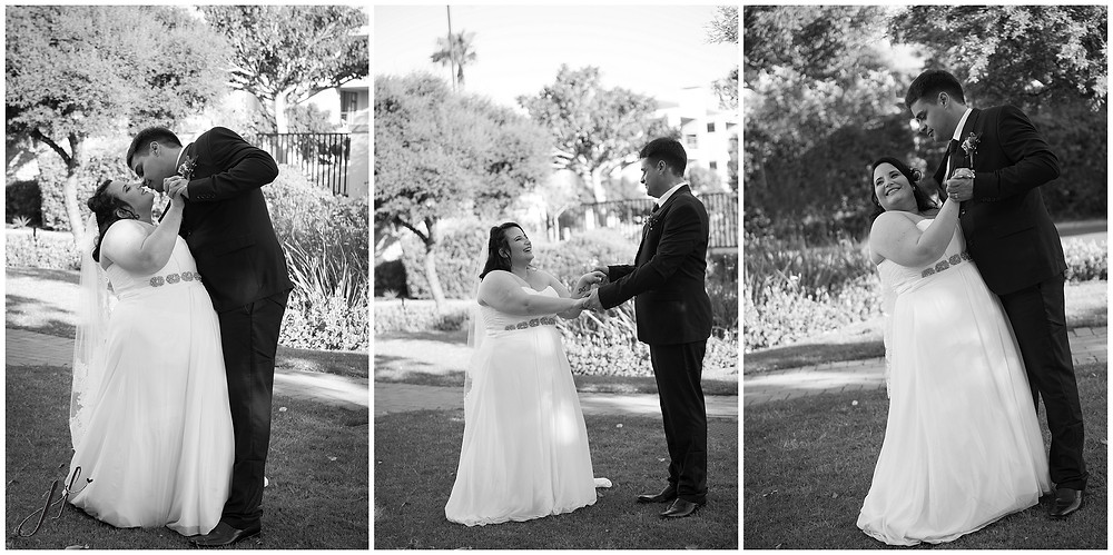 Wedding photo of couple dancing in Sea Point photographed by Jaqui Franco Photography in Cape Town
