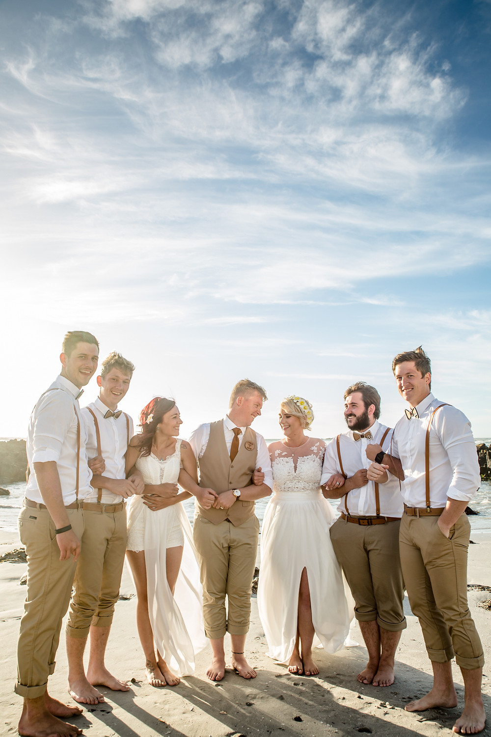 Bridal Party at Blouberg beach outside Ons Huisie