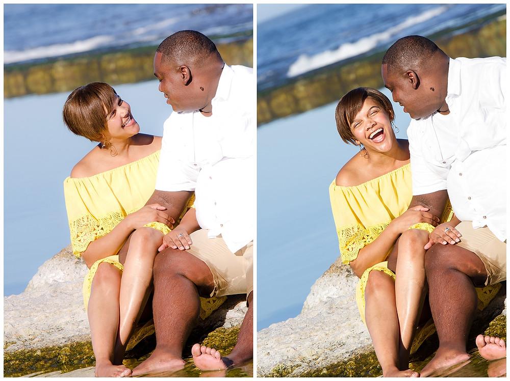 Engagement shoot at Camps Bay Rock pools by Jaqui Franco Photography