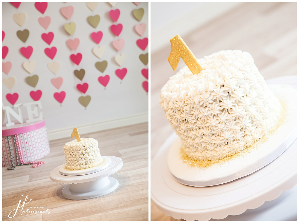 Pink & Gold cake smash by Jaqui Franco Photography Cape Town