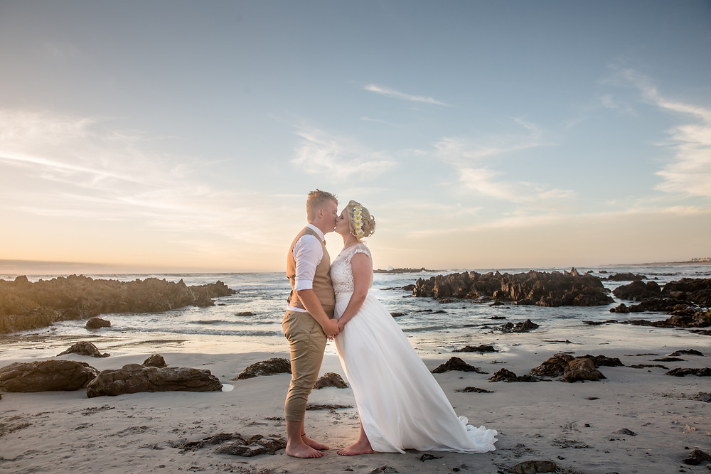 Barefoot on the beach wedding at outside Ons Huisie in Blouberg