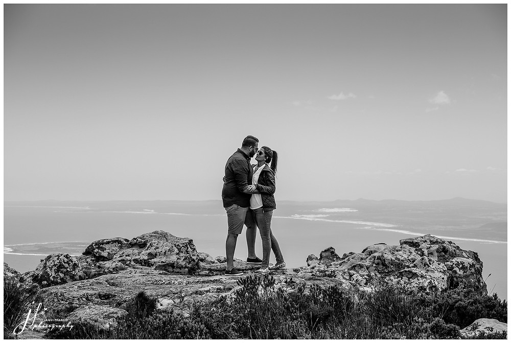 Surprise proposal on top of Table Mountain by Jaqui Franco Photography