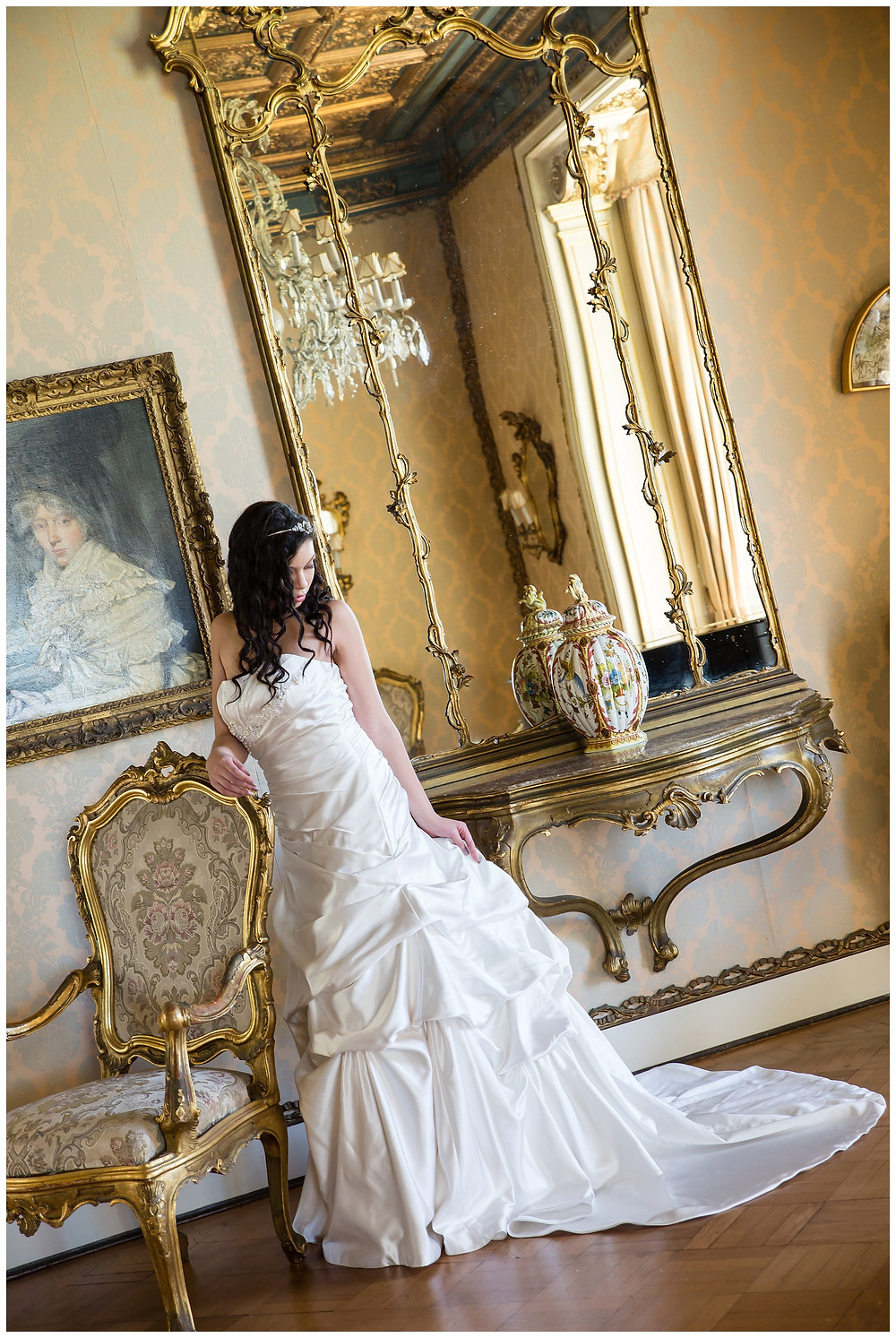 Wedding dress bridal shoot at Casa Labia by jaqui Franco Photography