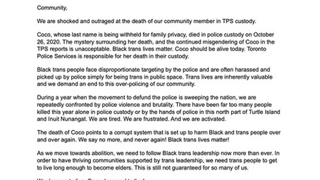 We Demand Justice For Coco - A Statement from Black Lives Matter Toronto, Maggie's & Trans Pride TO