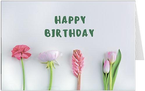 купити квіткові листівки з днем народження, тульпани на сірому фоні