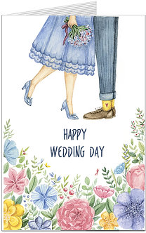 весільна листівка, наречений та наречена на фоні квітів