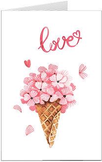 листівка для закоханих, квіти в стаканчику для морозива