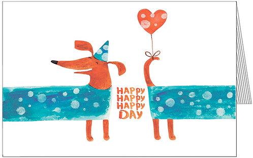 купити листівки з днем народження, песик, такса, весела, тримає кульку