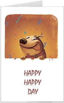 листівка з днем народження, дурашливий песик вітає