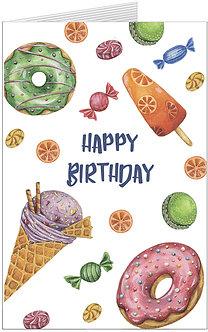 листівка з днем народження, морозиво, пончики та кольорові солодощі