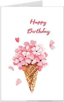 листівка з днем народження, квіти в стакачику від морозива