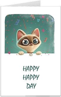 листівка з днем народження, дурашливий котик, який вітає