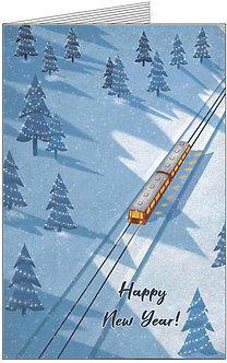 листівка з новим роком. потяг який їде через ліс