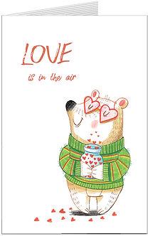 листівка для закоханих, медведик із сердечками