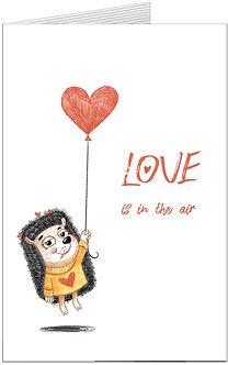 листівка для закоханих, їжак із сердечком