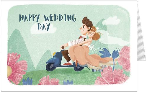 весільна листівка, наречені на скутері