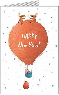 листівка з нових роком. дід мороз на повітряній кульці