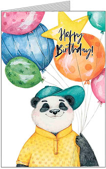 листівка з днем народження, пандочка із кольоровими кульками