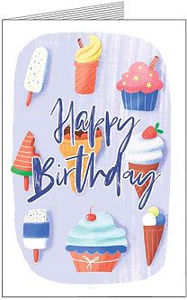 купити листівки з днем народження, різної форми морозиво на веселому фоні