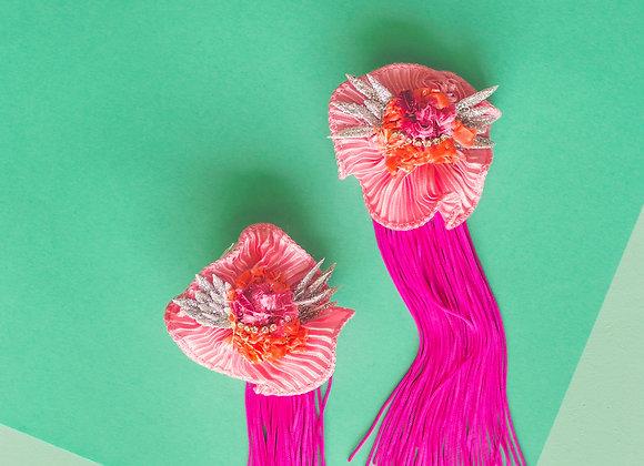 pink gold heart flower earrings