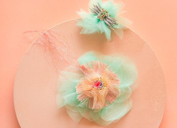 light turquoise light pink peony hair pin