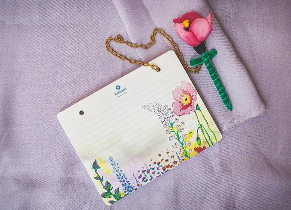 בלוק פלוס עט פרח עם שרשרת
