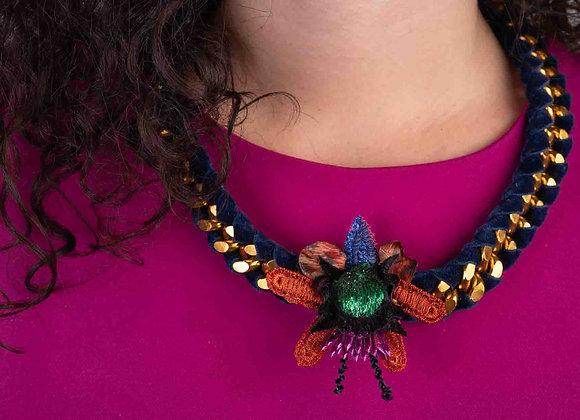 Metal beatle necklace