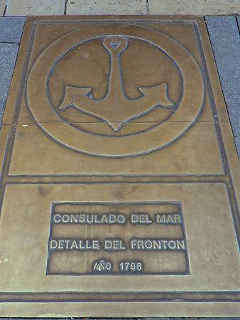Placa indicativa del Consulado del Mar en el Paseo del Espolón (Burgos)