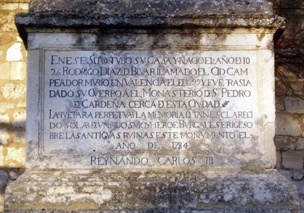 Inscripción en la cartela del Solar del Cid (Burgos)