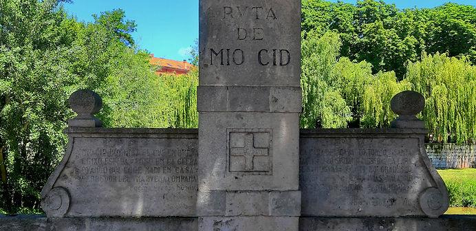 Detalle del hito cidiano en la glera (Burgos)
