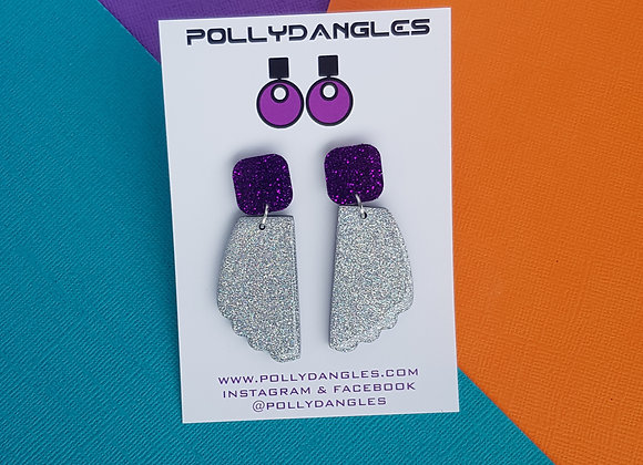 Holographic Silver Resin - Purple sparkle top