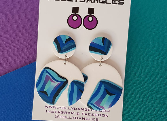 Blue & White Gems - Double Circles