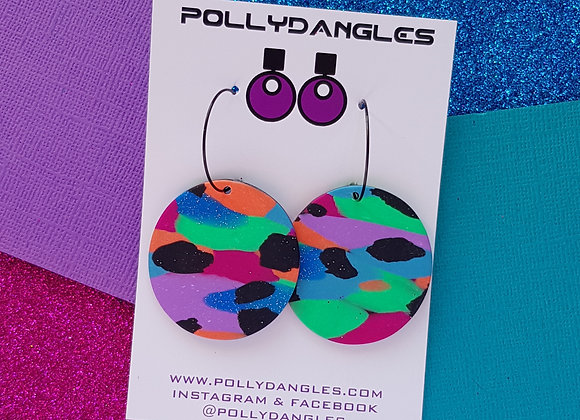 Large Multi Coloured Circles - on hoops