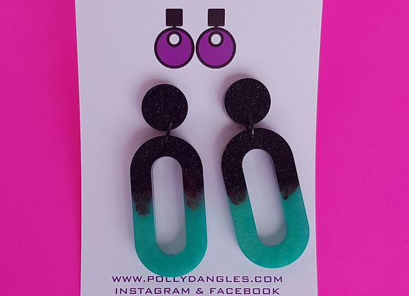 Turquoise dreams - ovals with black