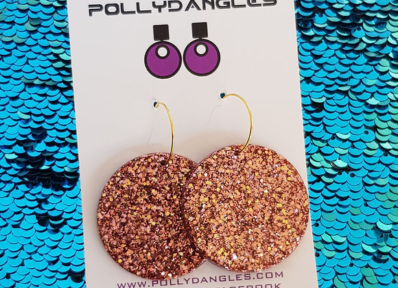 Blush Glitter circles - on gold plated hoops
