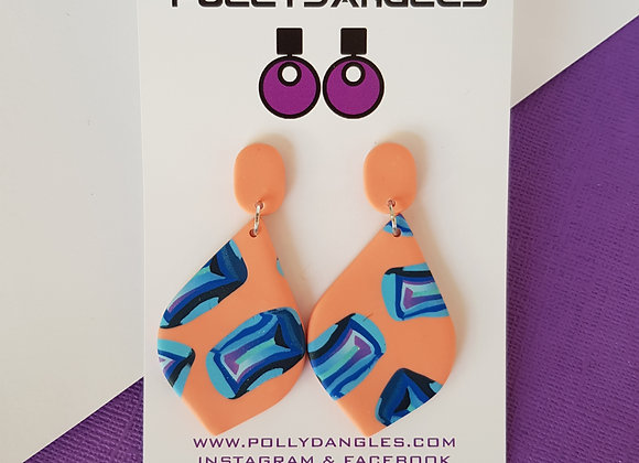 Peachy Blue Gems - Pointed oval