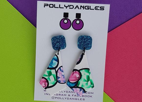 Gemstones Multi Colour - Kite Drops, Blue glitter top