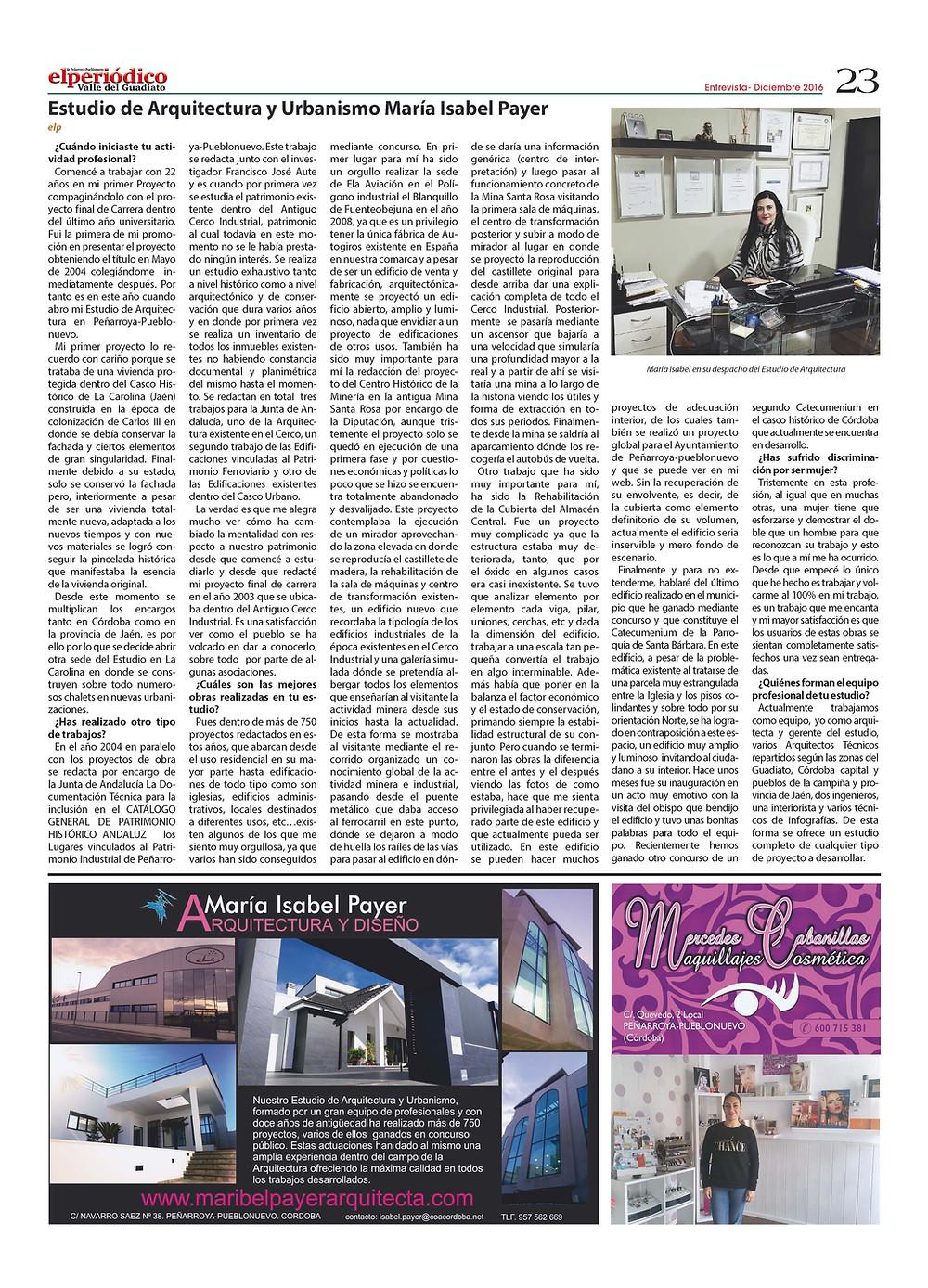 Entrevista realizada a María Isabel Payer por el Periódico Comarcal del Valle del Guadiato, Córdoba.
