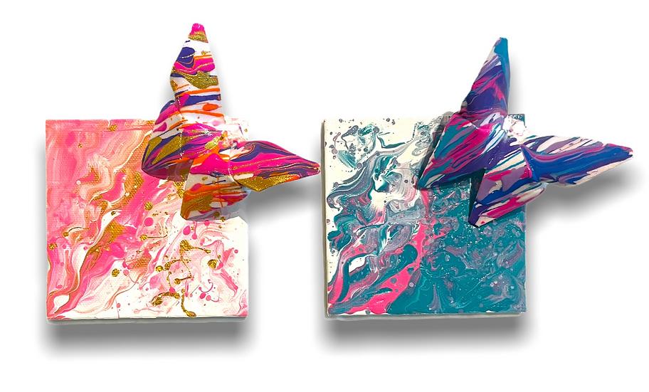 Neon Butterflies - Magnets - Set of 2