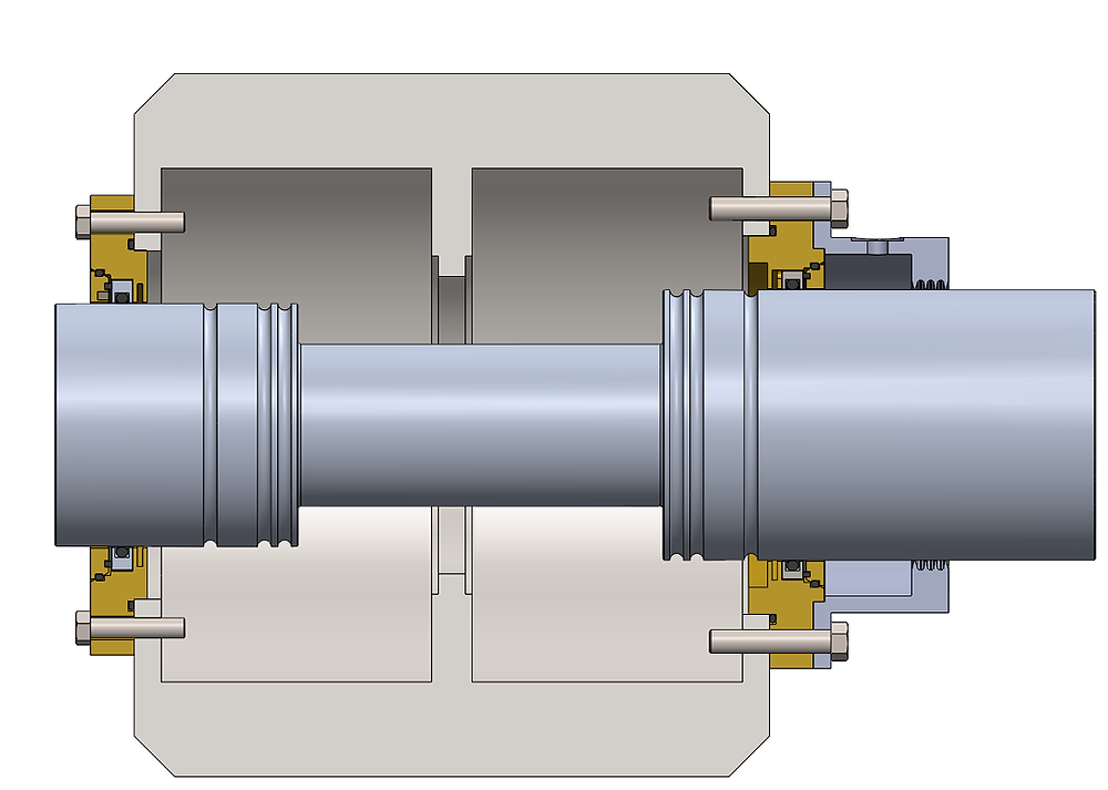 Figure 4: Siemens Motor bearing housing cross-section with Isomags installed