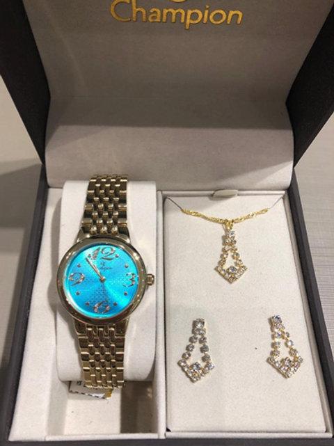 Kit Relógio - Champion Feminino Dourado Visor Azul CH24919Y + Semijoia