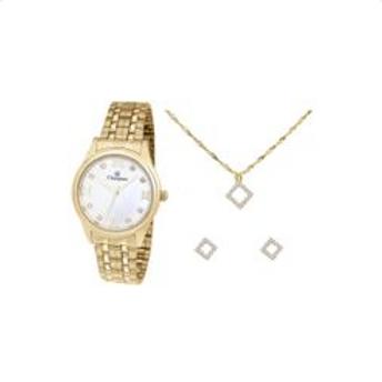 Relógio Feminino Champion Analógico - CN24164B Dourado com Acessórios