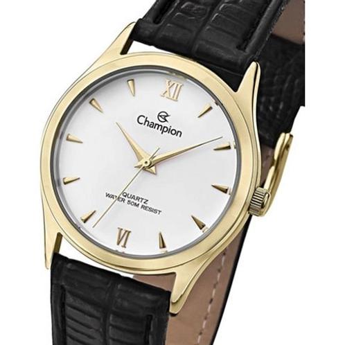 Relógio Feminino Dourado Champion Pulseira de Couro Preta