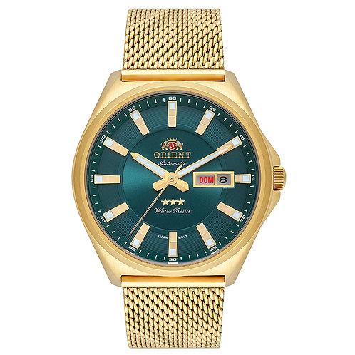 Relógio Orient Automático Dourado F49gg009 E1kx Verde
