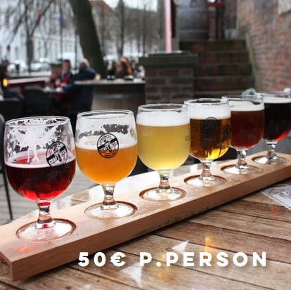 Beer Tasting on a colorful evening with craftbeer theme