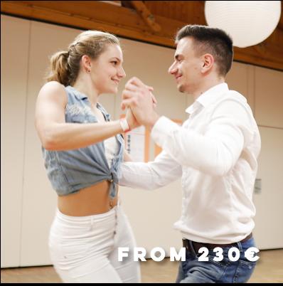 Learning basics of bachata with dance teacher