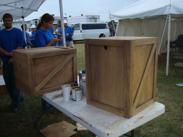 Scenic painted nightstands