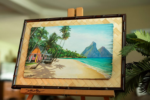 Secluded Bay Surf Shack (on Distressed Wood)