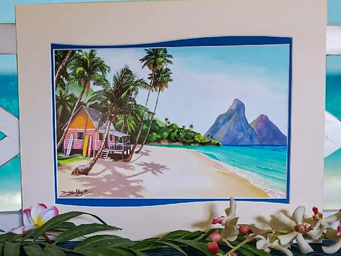 Secluded Bay Surf Shack Deluxe Giclee Matted Print