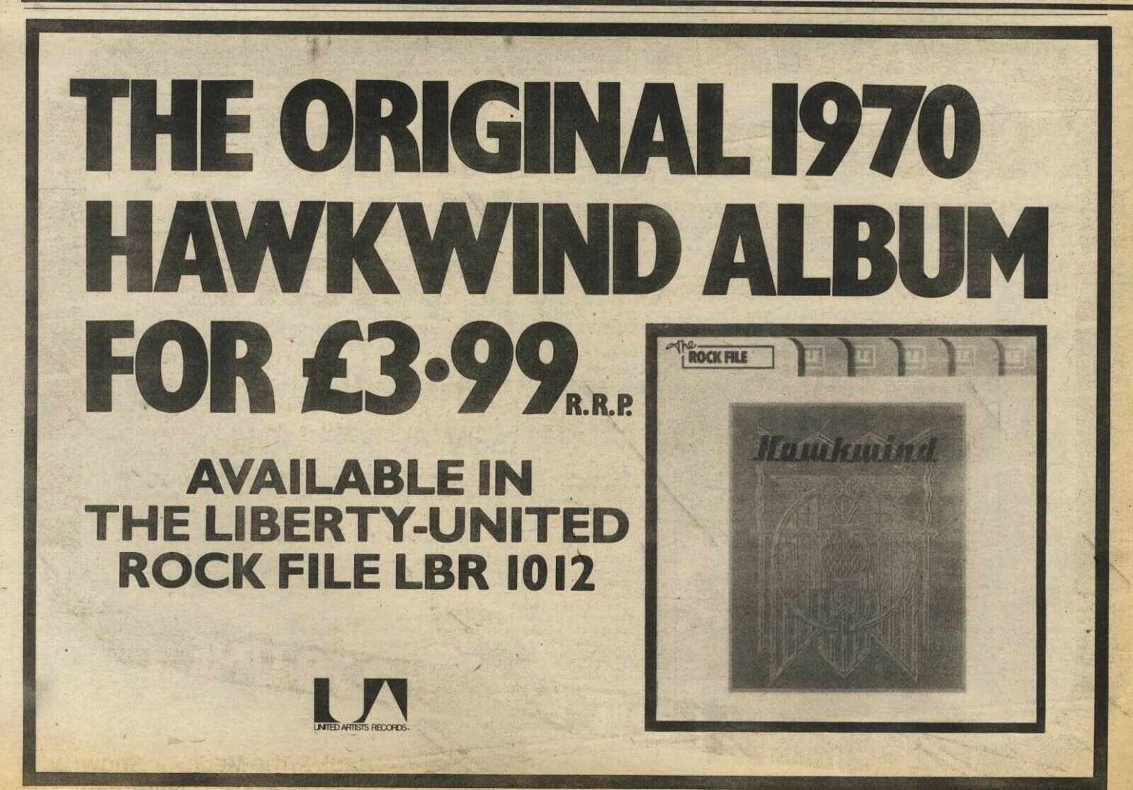 Hawkwind (Rock File reissue) UK press ad